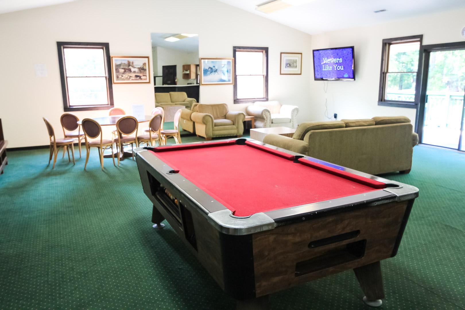 A Game room at VRI's Alpine Crest Resort in Georgia.