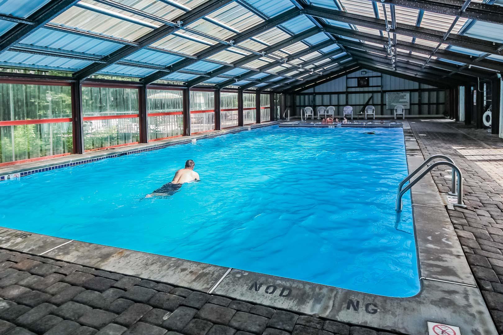 A spacious indoor swimming pool at VRI's Alpine Crest Resort in Georgia.