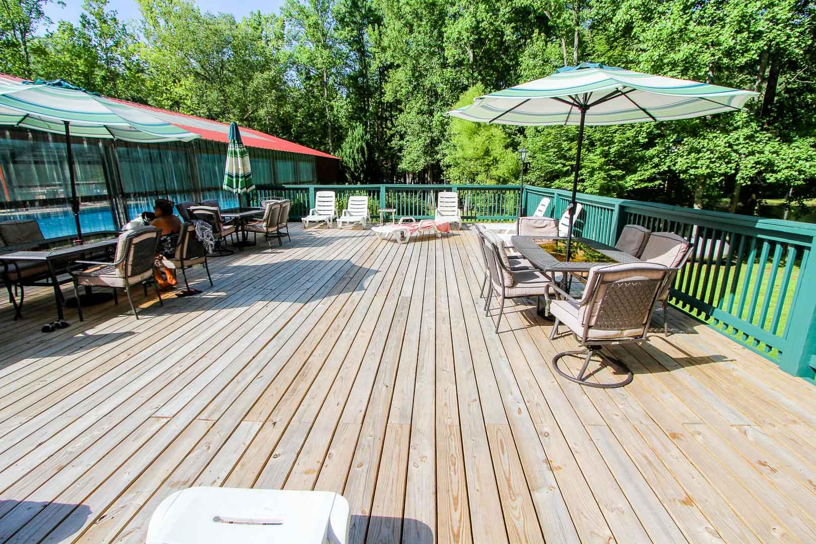 An airy patio deck at VRI's Alpine Crest Resort in Georgia.