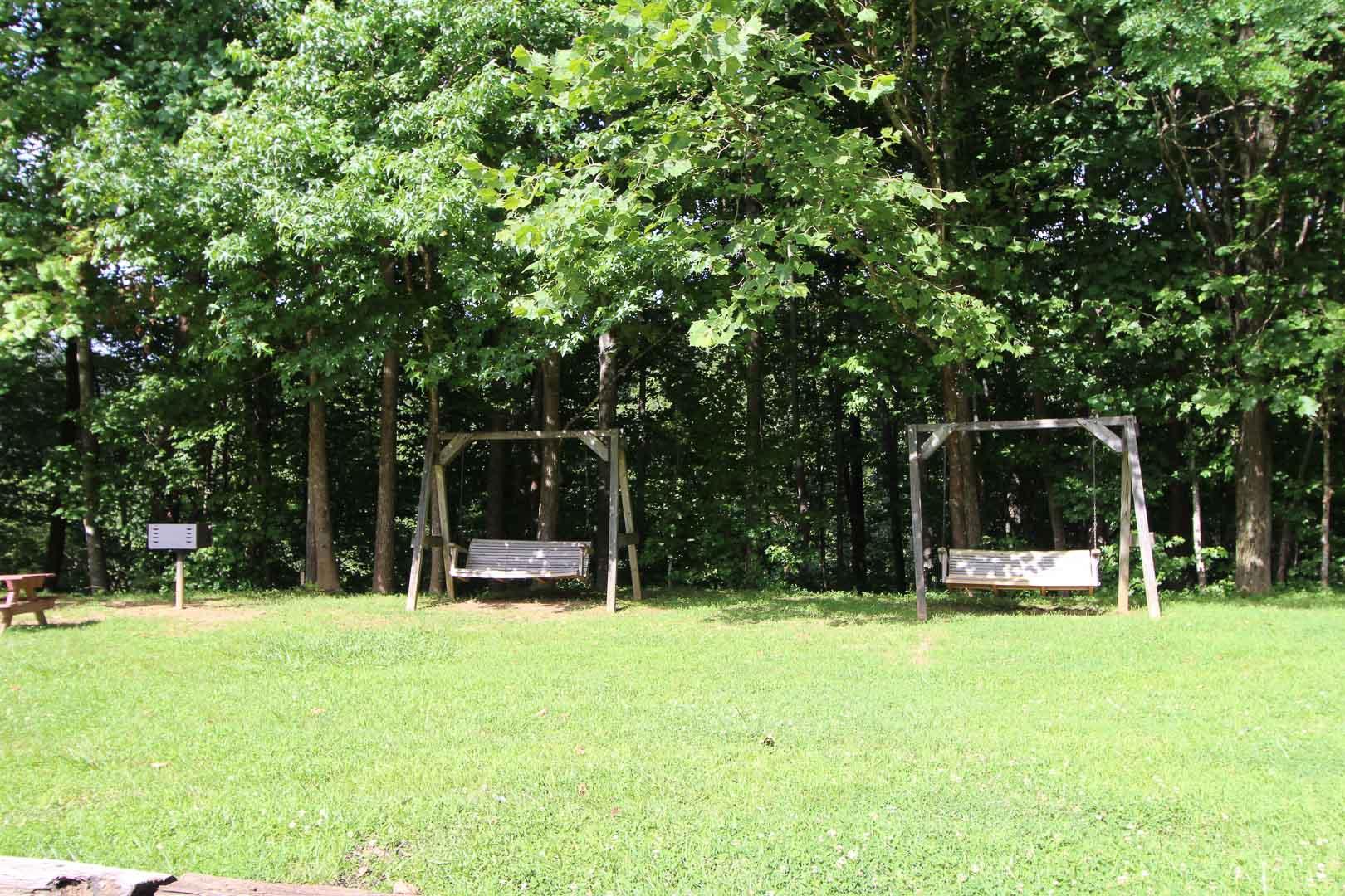 A peaceful outside view at VRI's Alpine Crest Resort in Georgia.