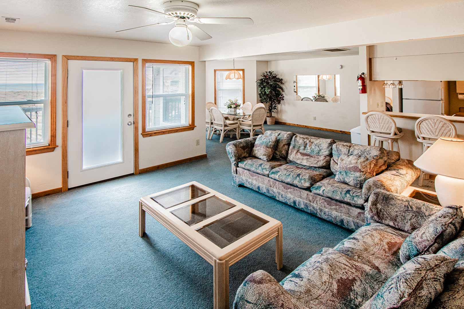 A spacious living room area at VRI's Barrier Island Station in North Carolina.