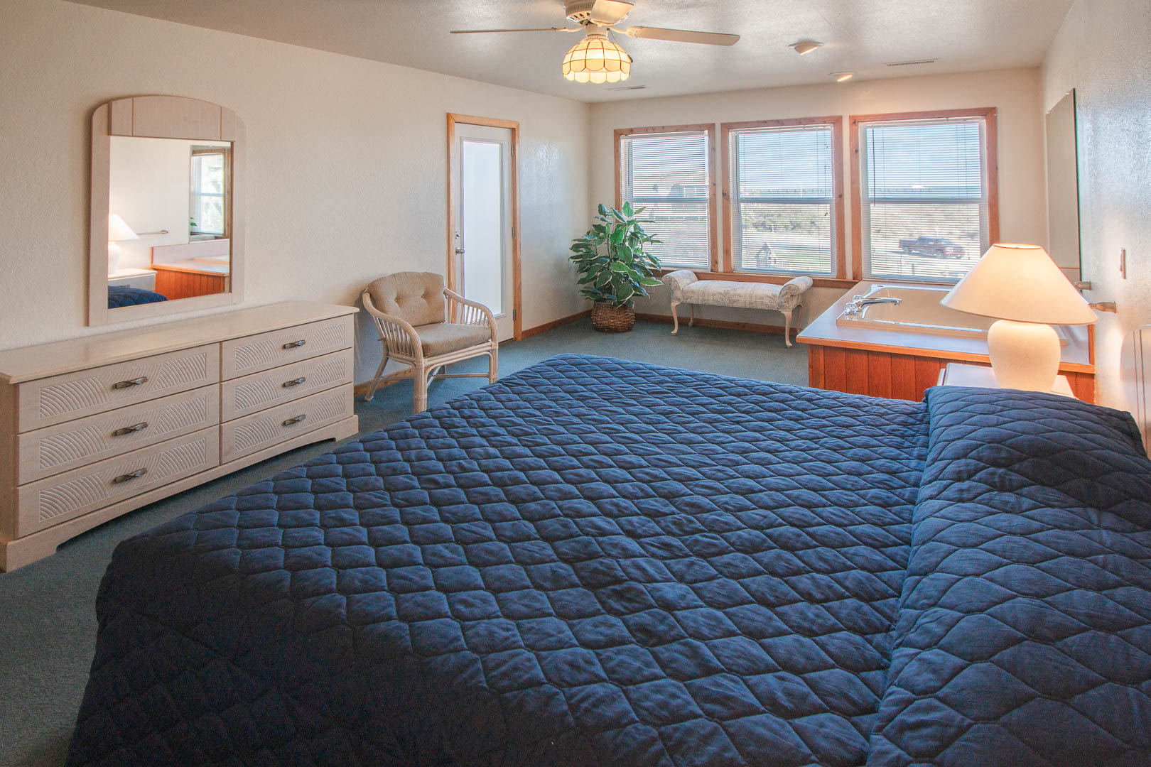 A spacious master bedroom at VRI's Barrier Island Station in North Carolina.