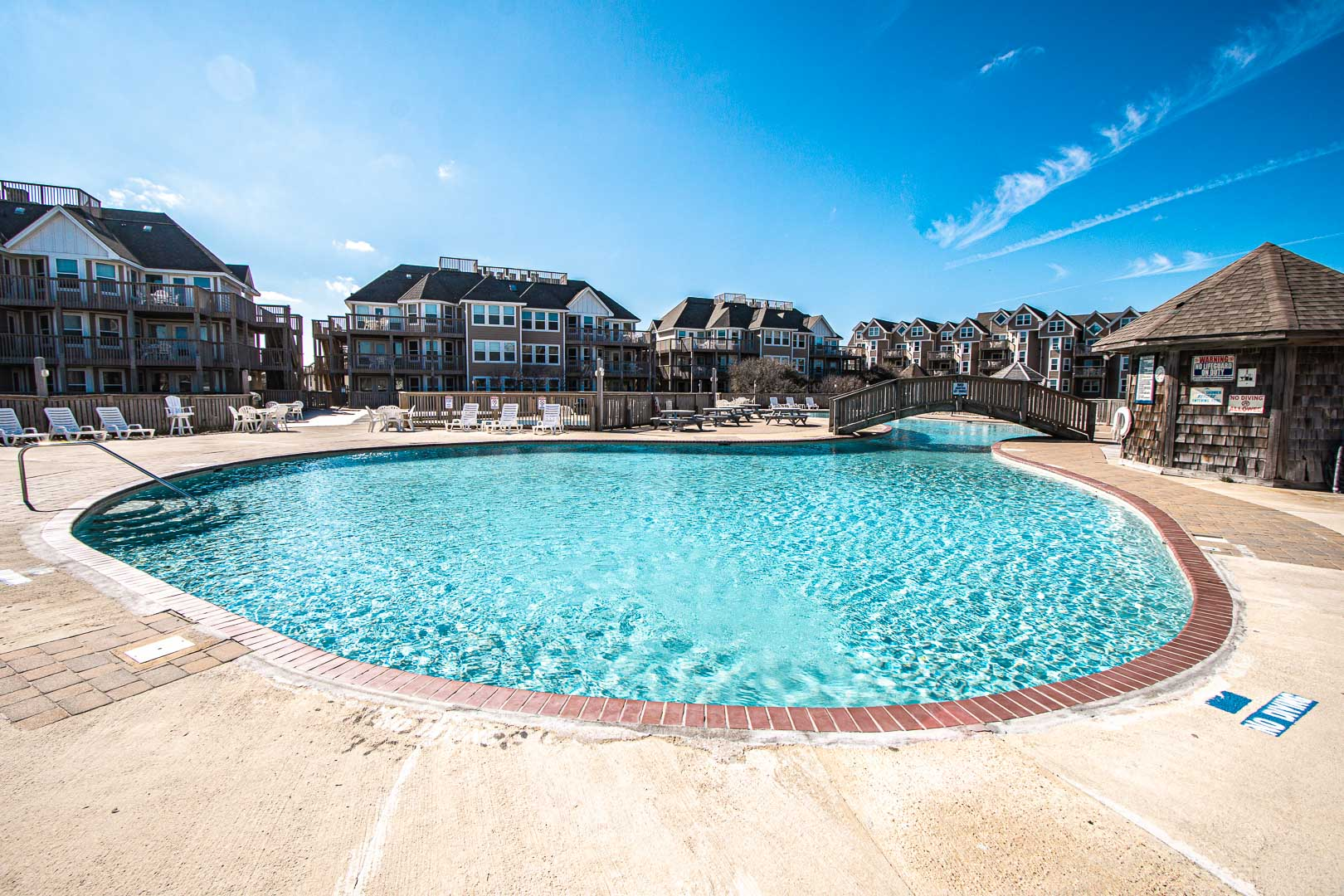 A picturesque outside swimming pool at VRI's Barrier Island Station in North Carolina.