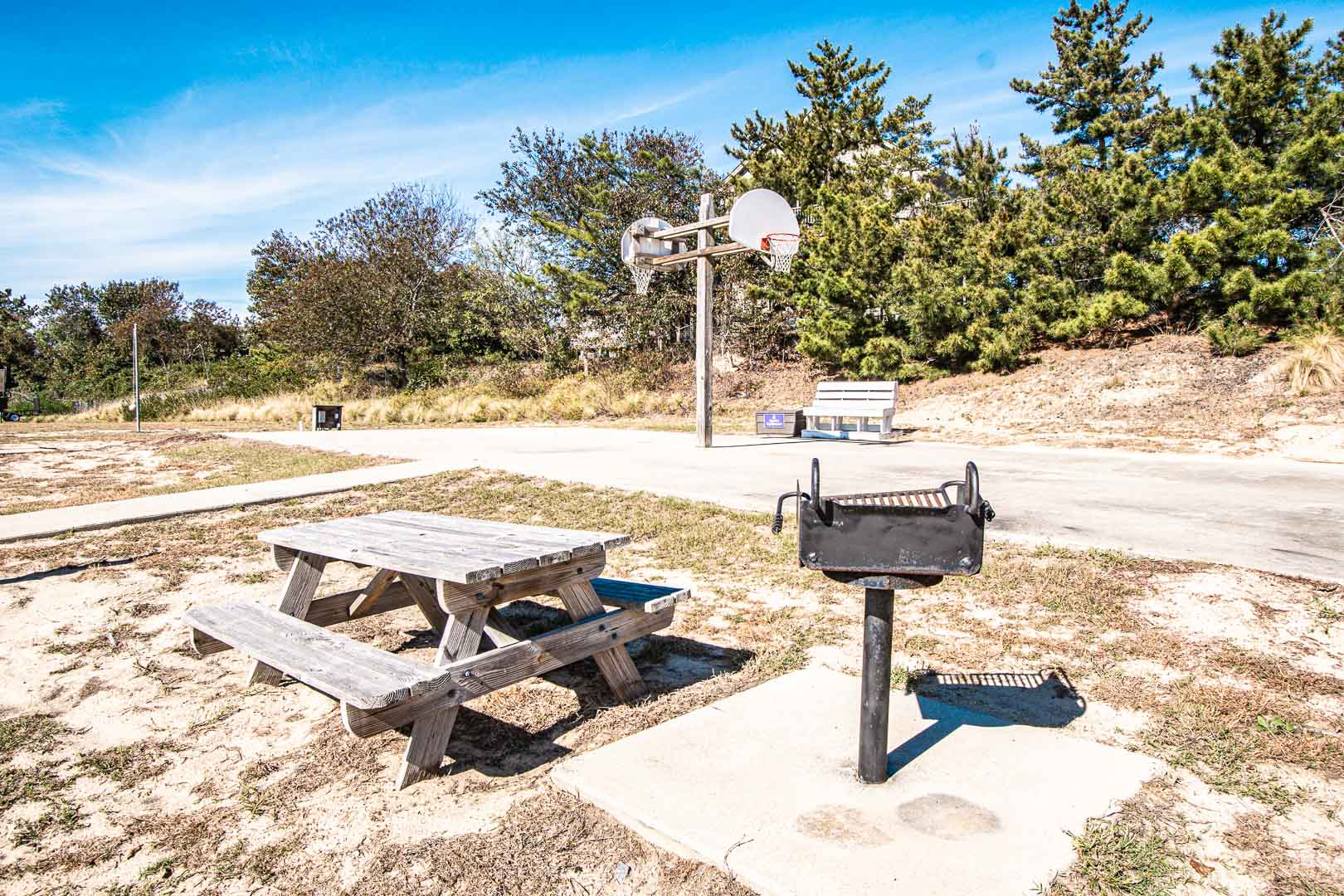 A tranquil BBQ area at VRI's Barrier Island Station in North Carolina.