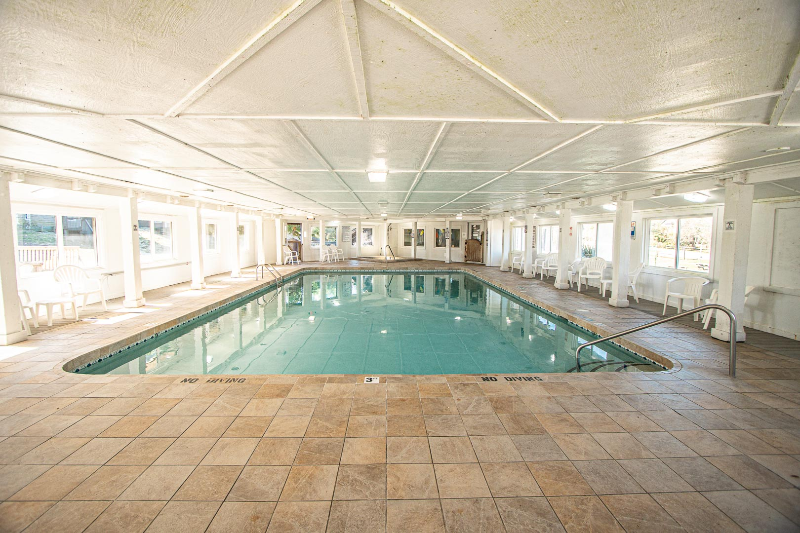 An expansive indoor swimming pool at VRI's Barrier Island Station in North Carolina.