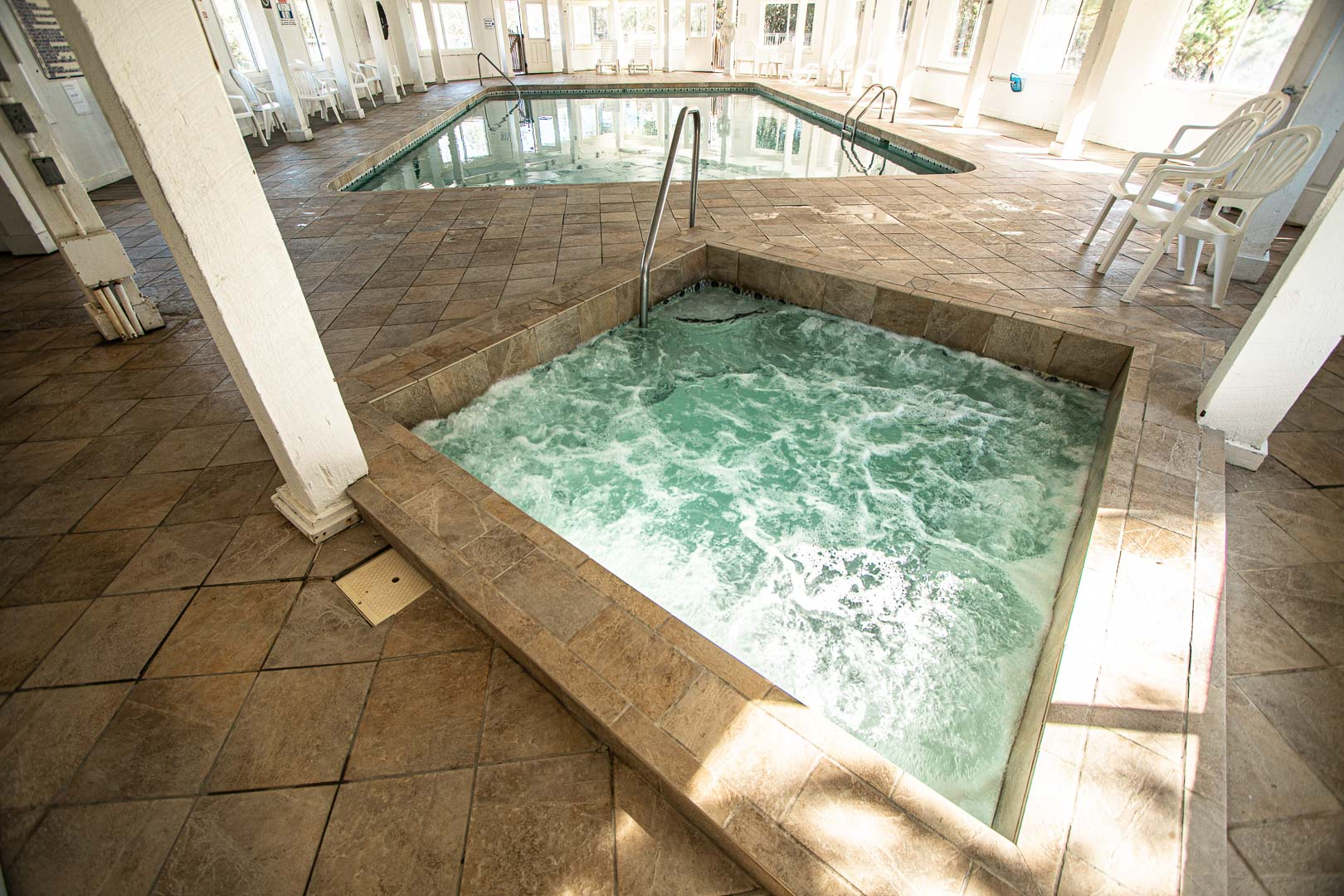 An indoor jacuzzi at VRI's Barrier Island Station in North Carolina.
