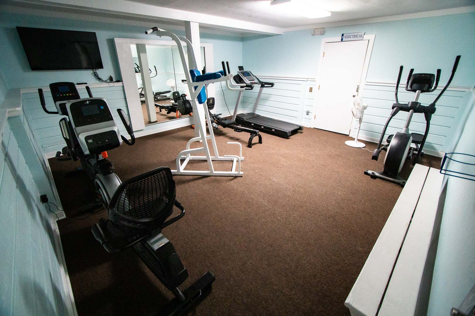 Indoor gym room at VRI's Barrier Island Station in North Carolina.