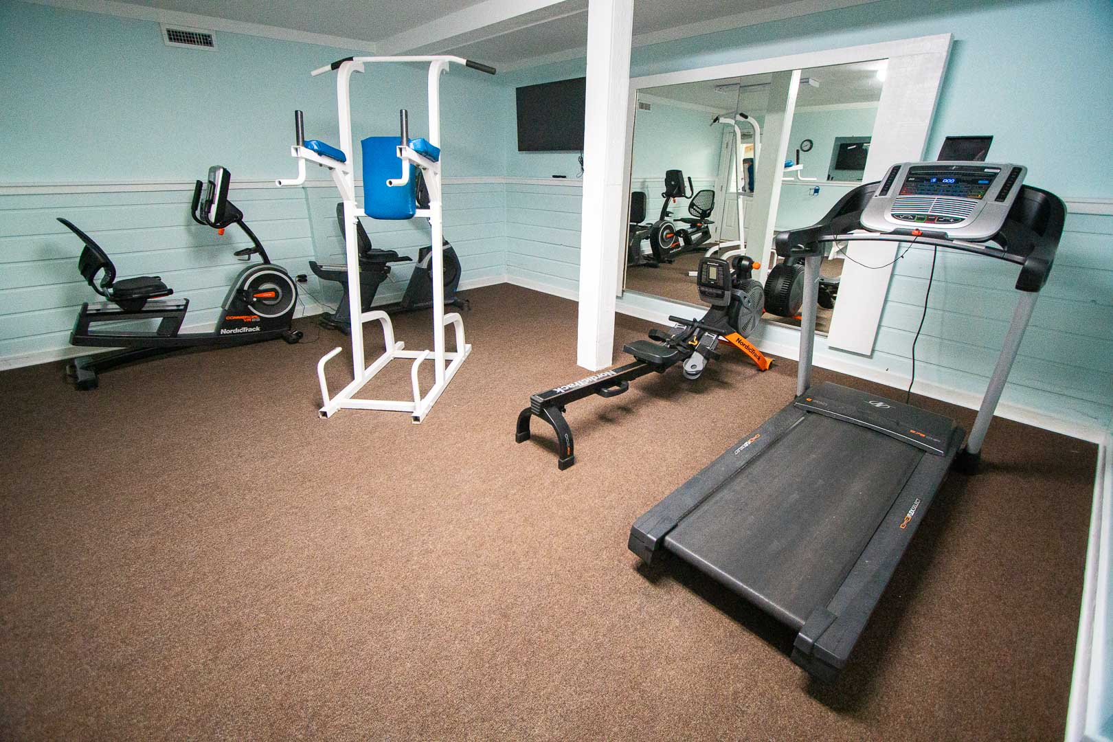 An indoor gym at VRI's Barrier Island Station in North Carolina.