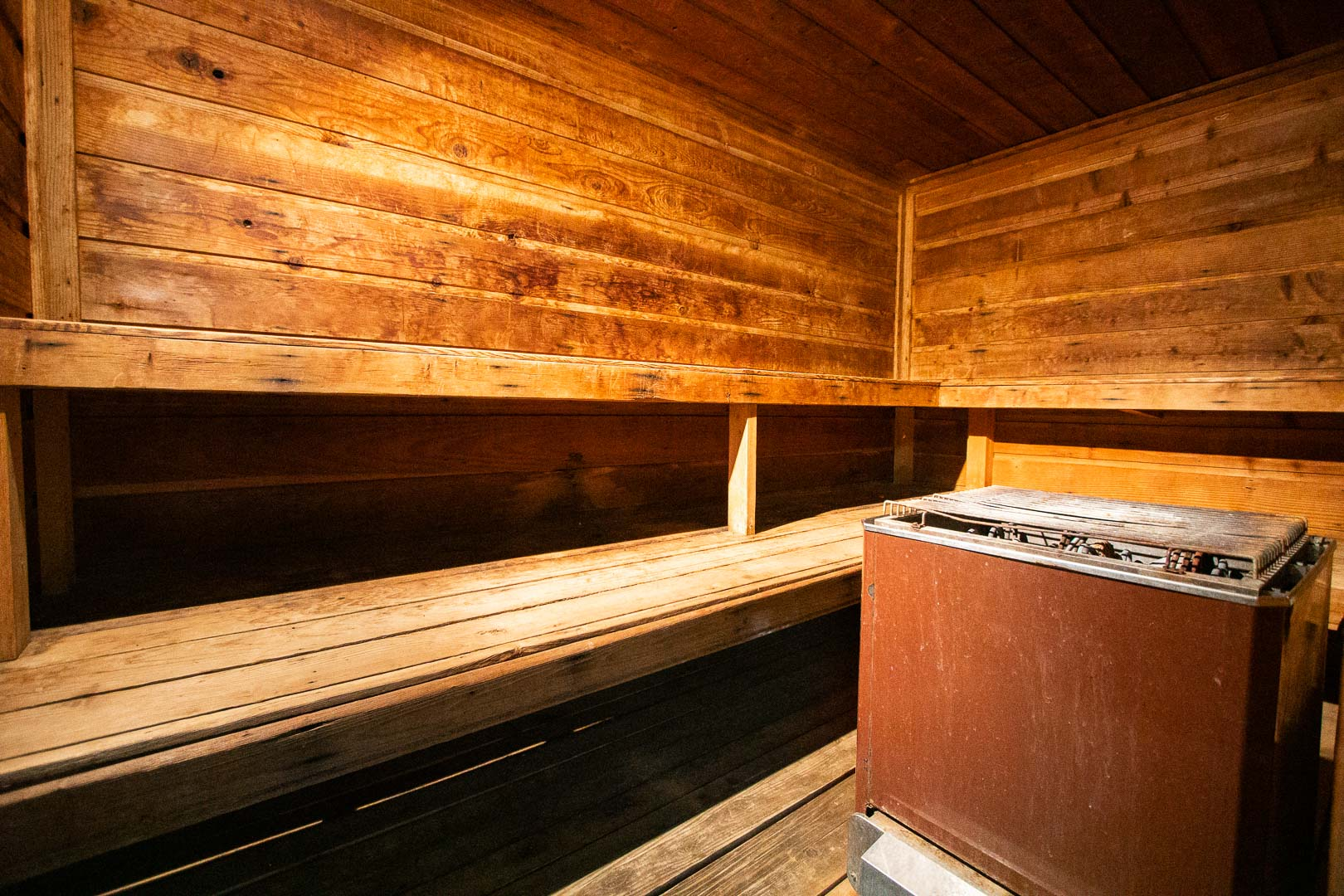 A relaxing sauna room available at VRI's Barrier Island Station in North Carolina.