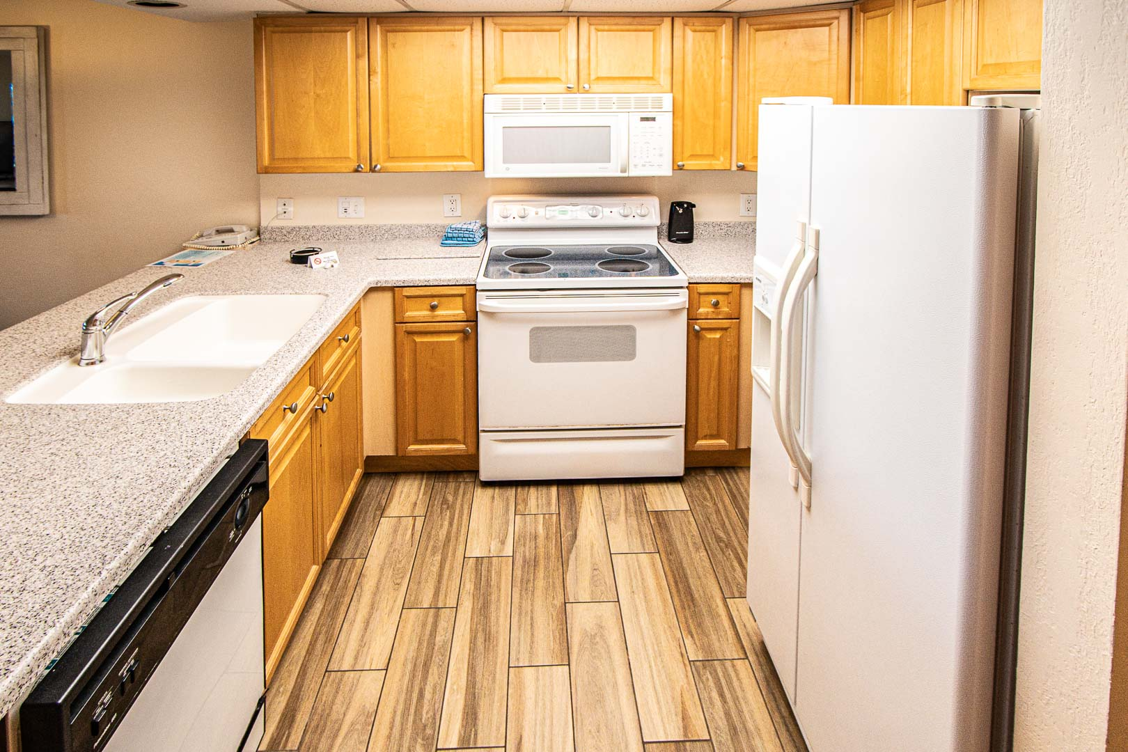 A fully equipped kitchen area at VRI's Bay Club of Sandestin in Florida.