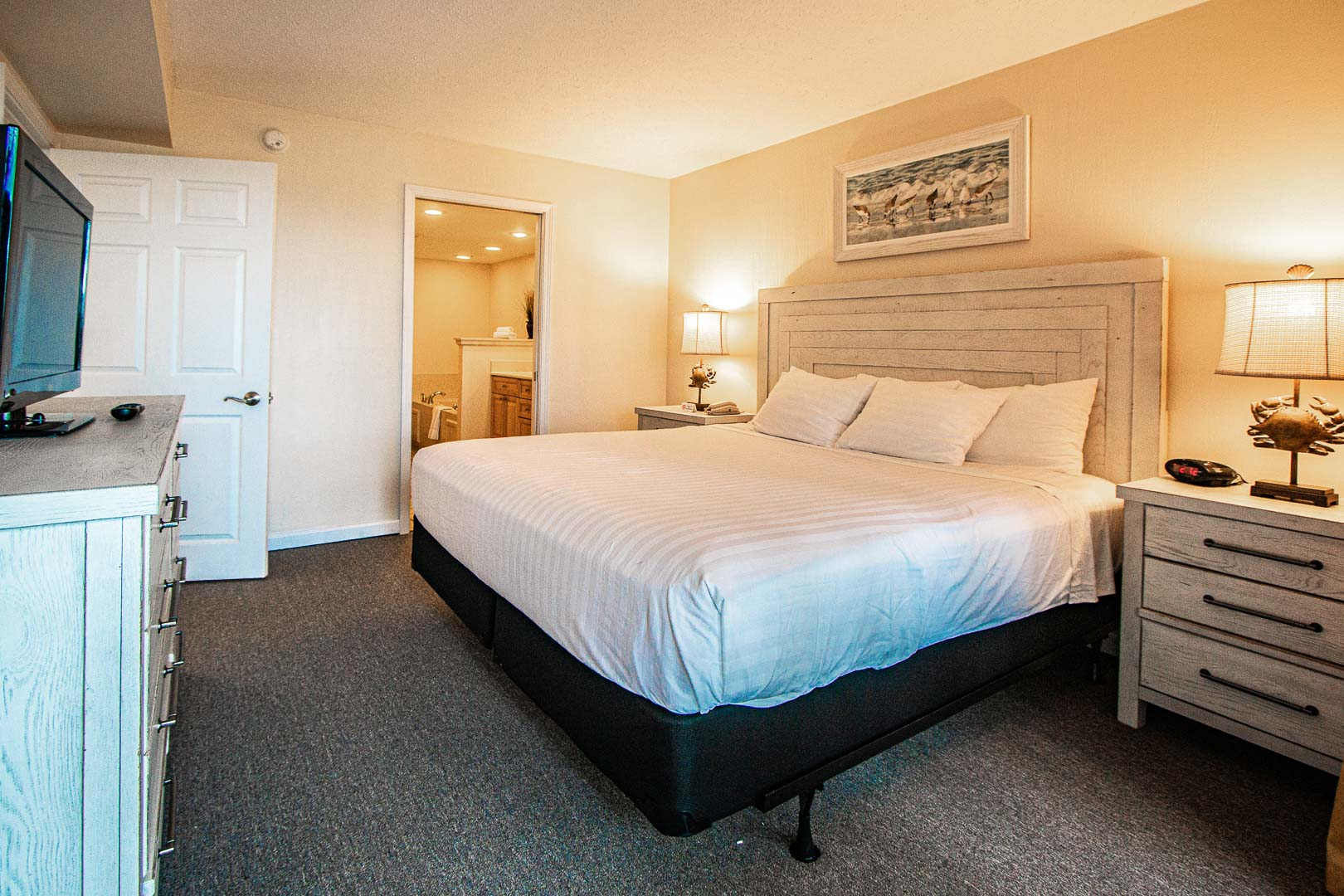 An updated master bedroom at VRI's Bay Club of Sandestin in Florida.