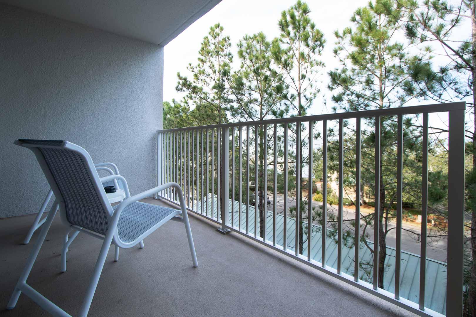 A cozy balcony view at VRI's Bay Club of Sandestin in Florida.
