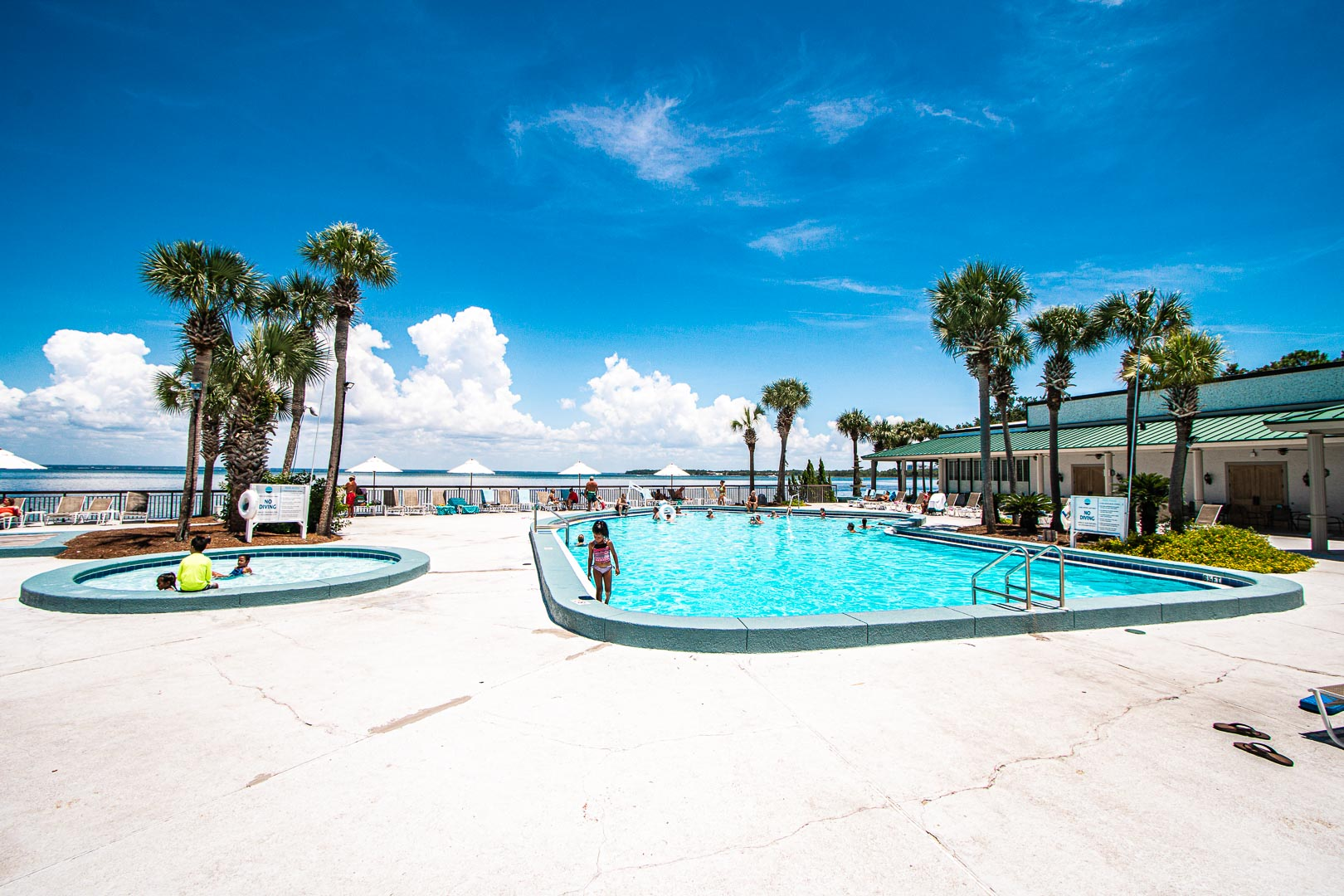 A colorful swimming pool at VRI's Bay Club of Sandestin in Florida.