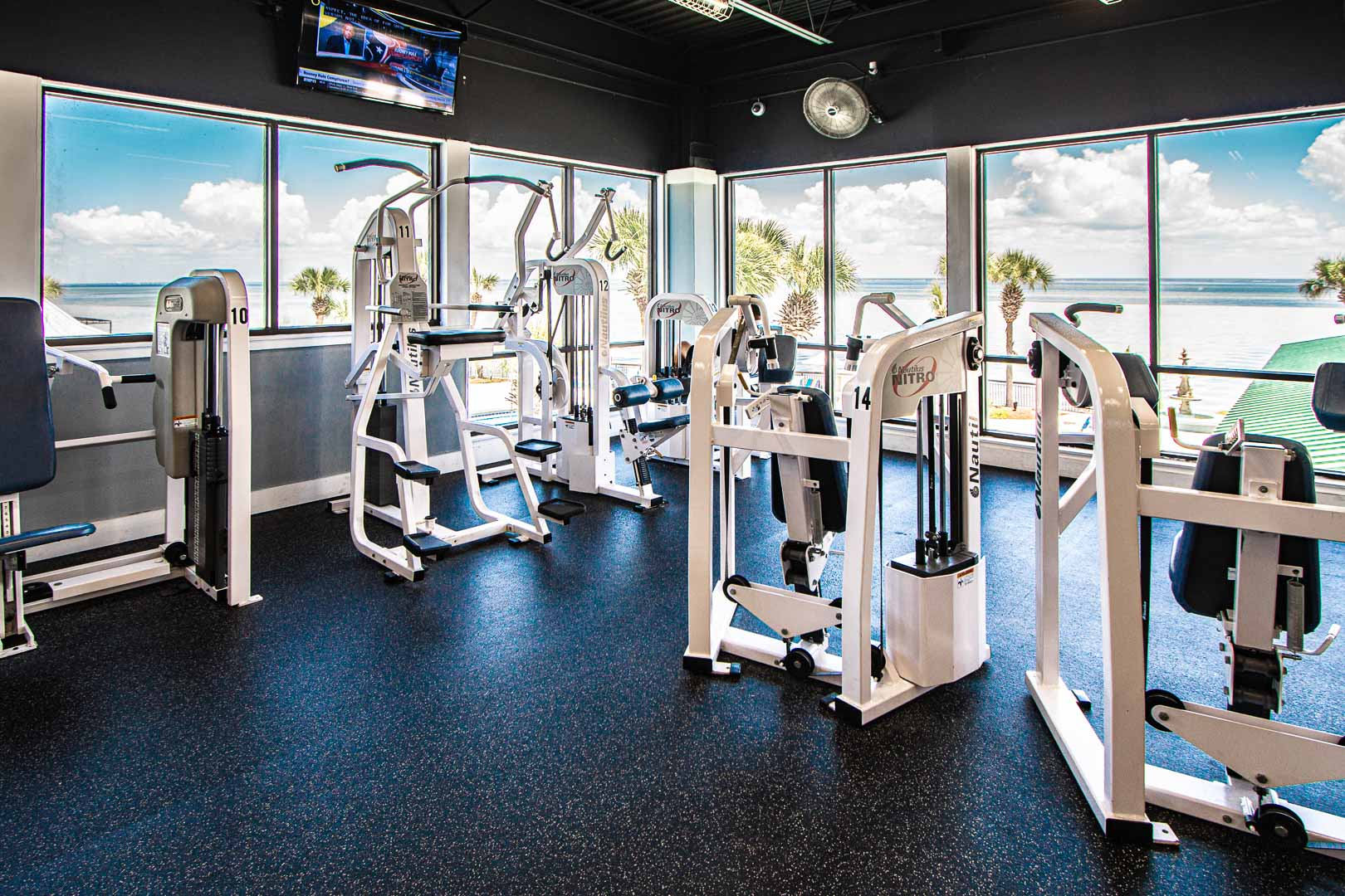 A stoic gymnasium at VRI's Bay Club of Sandestin in Florida.
