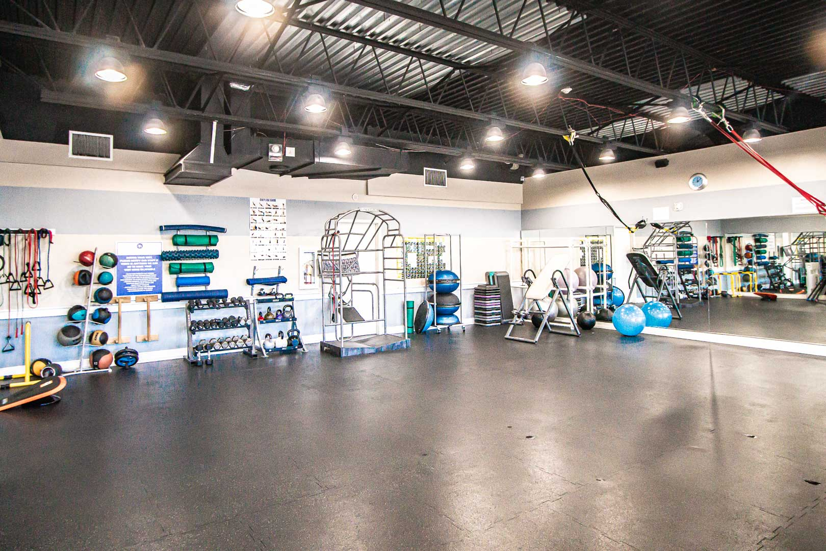 A spacious fitness club area at VRI's Bay Club of Sandestin in Florida.