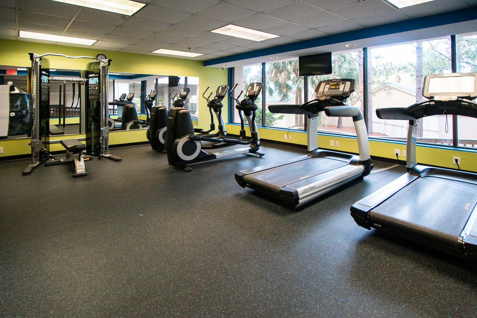 A spacious fitness club available at VRI's Bay Club of Sandestin in Florida.