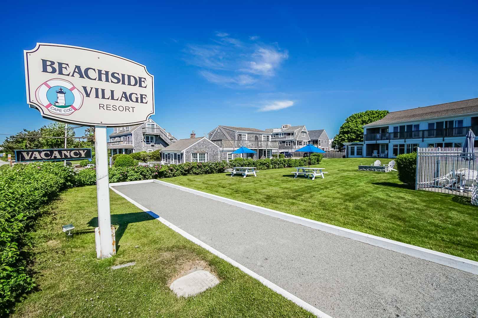 An inviting resort entrance at VRI's Beachside Village Resort in Massachusetts.