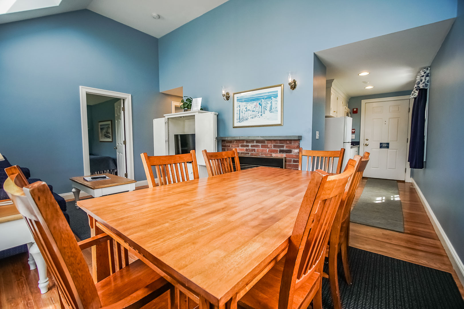 A spacious dining room at VRI's Beachside Village Resort in Massachusetts.