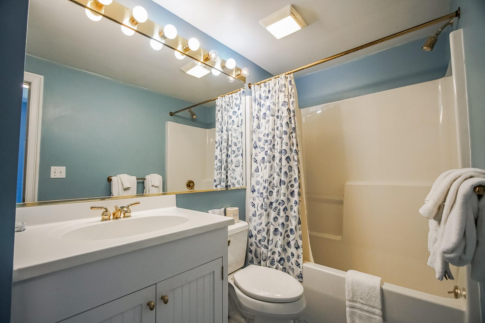 A clean bathroom at VRI's Beachside Village Resort in Massachusetts.