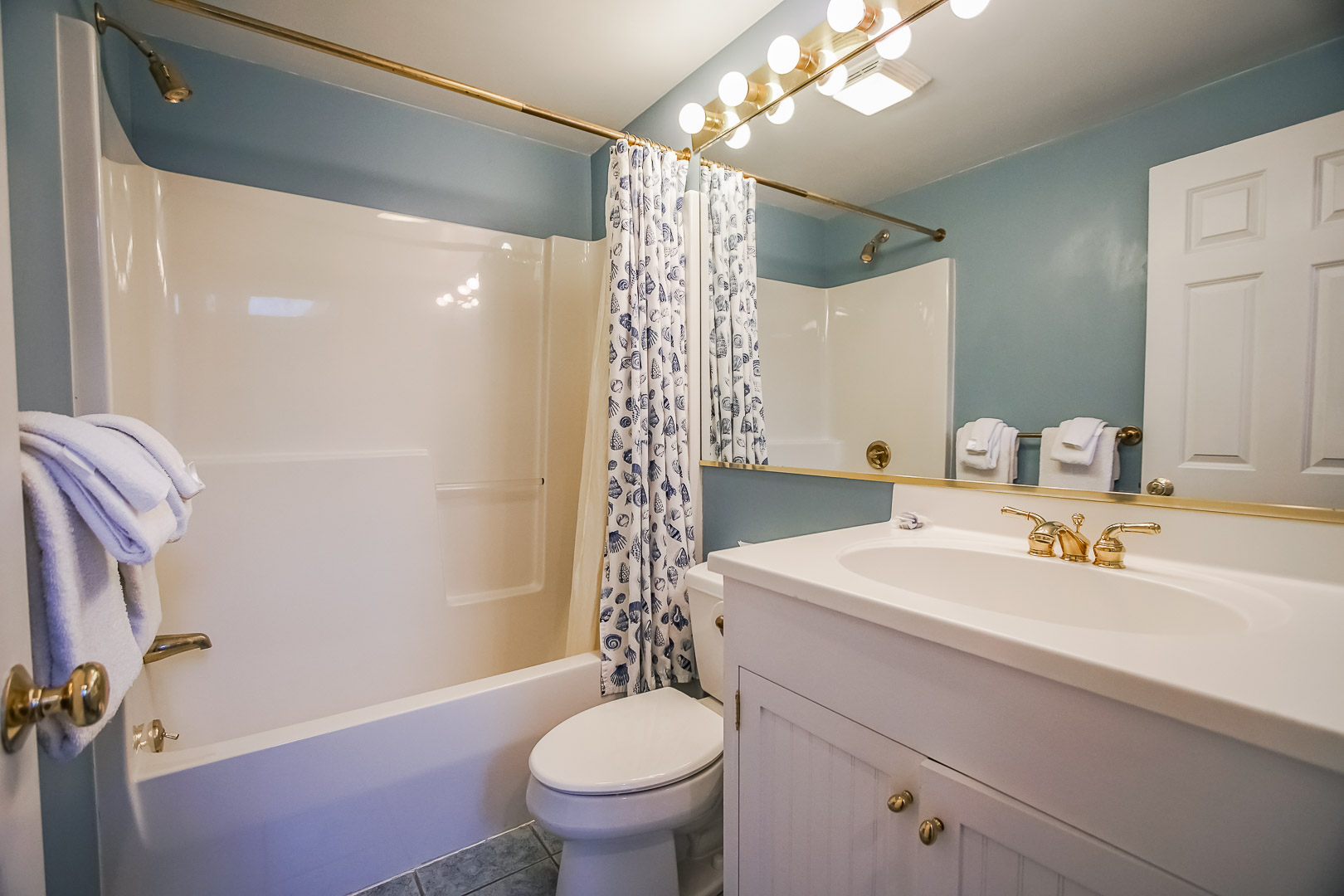 A crisp bathroom at VRI's Beachside Village Resort in Massachusetts.