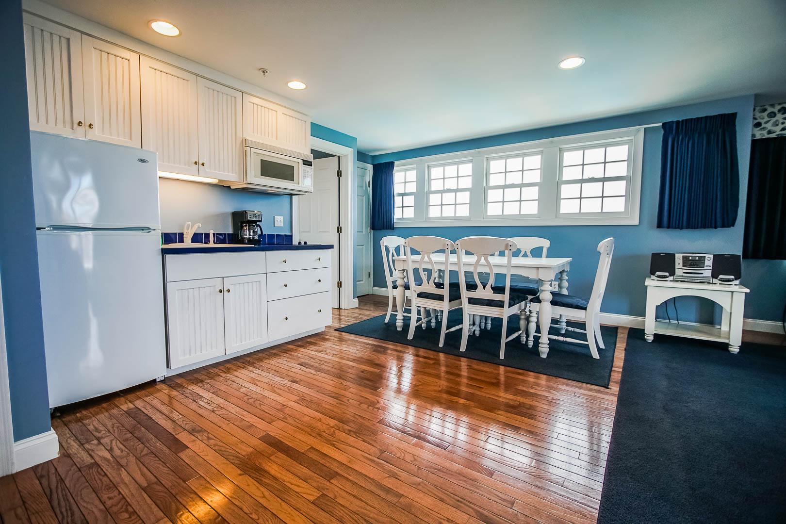 A spacious full kitchen at VRI's Beachside Village Resort in Massachusetts.