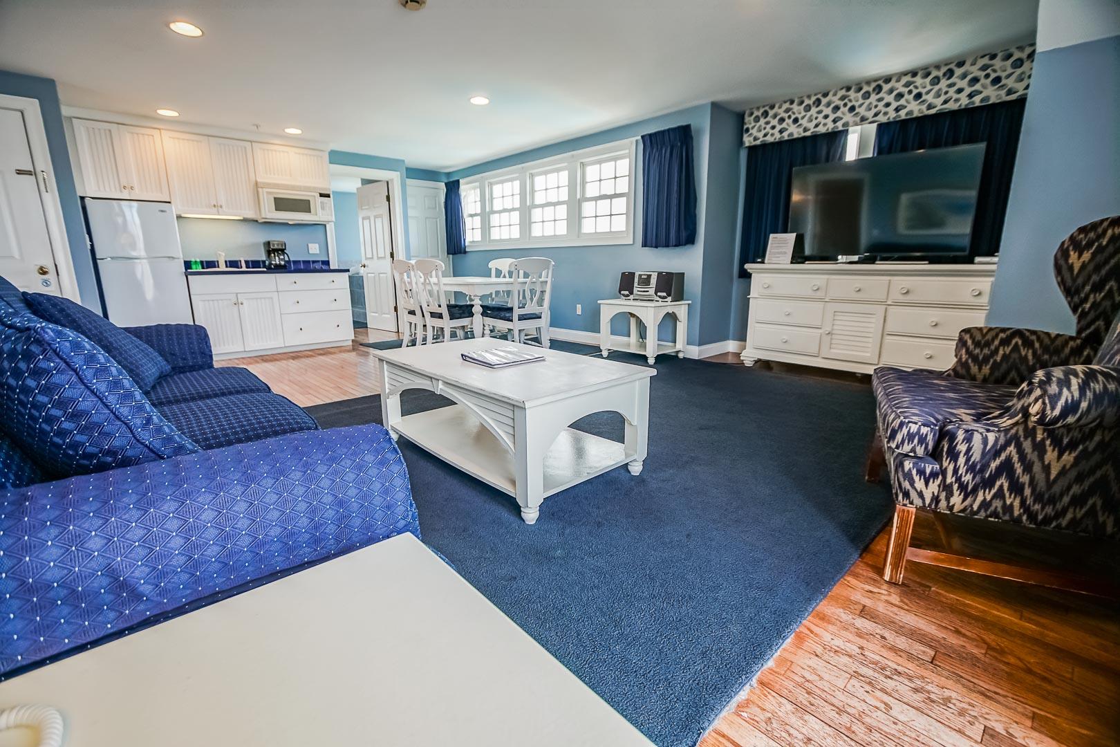 A spacious living room area at VRI's Beachside Village Resort in Massachusetts.