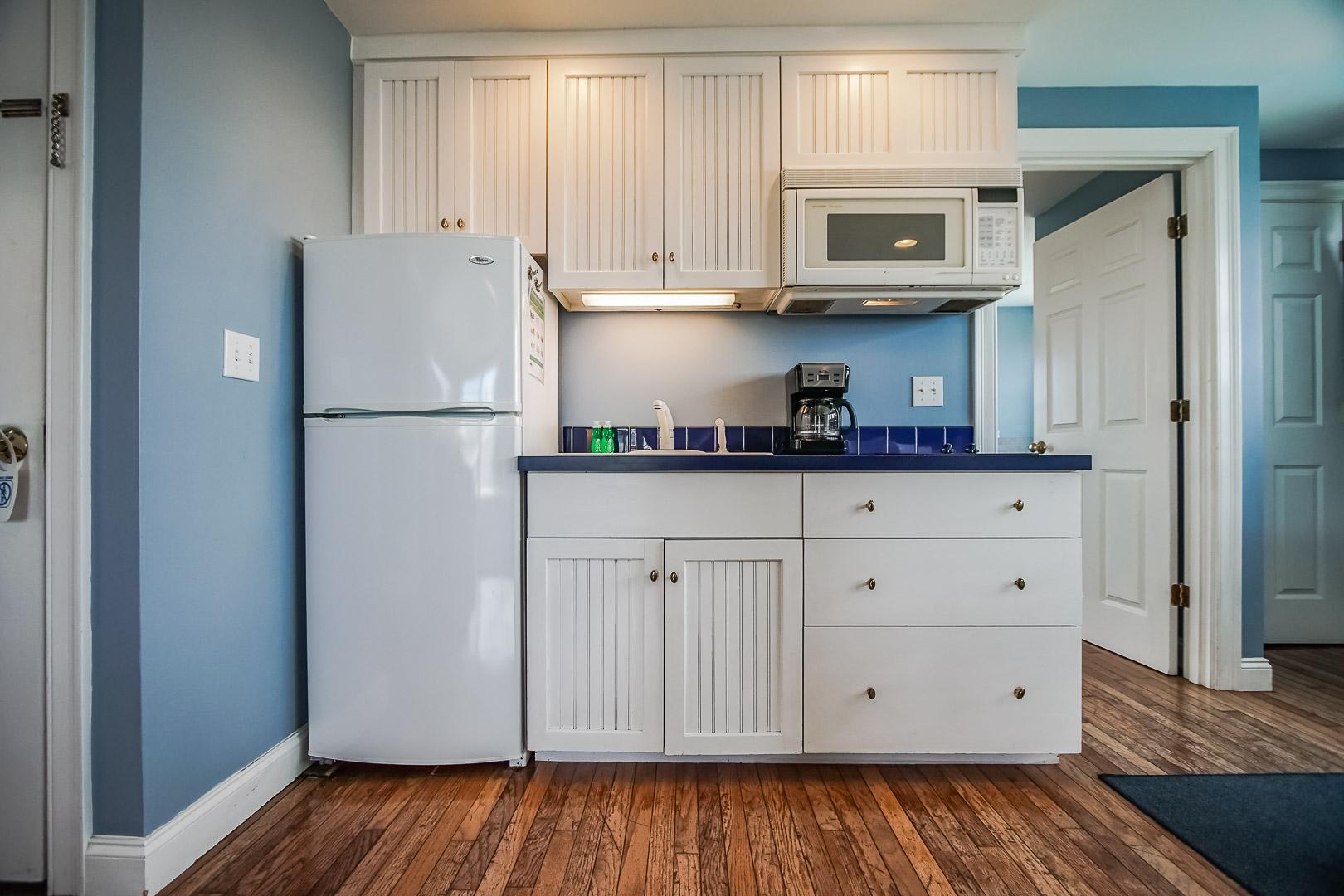 A standard kitchenette at VRI's Beachside Village Resort in Massachusetts.