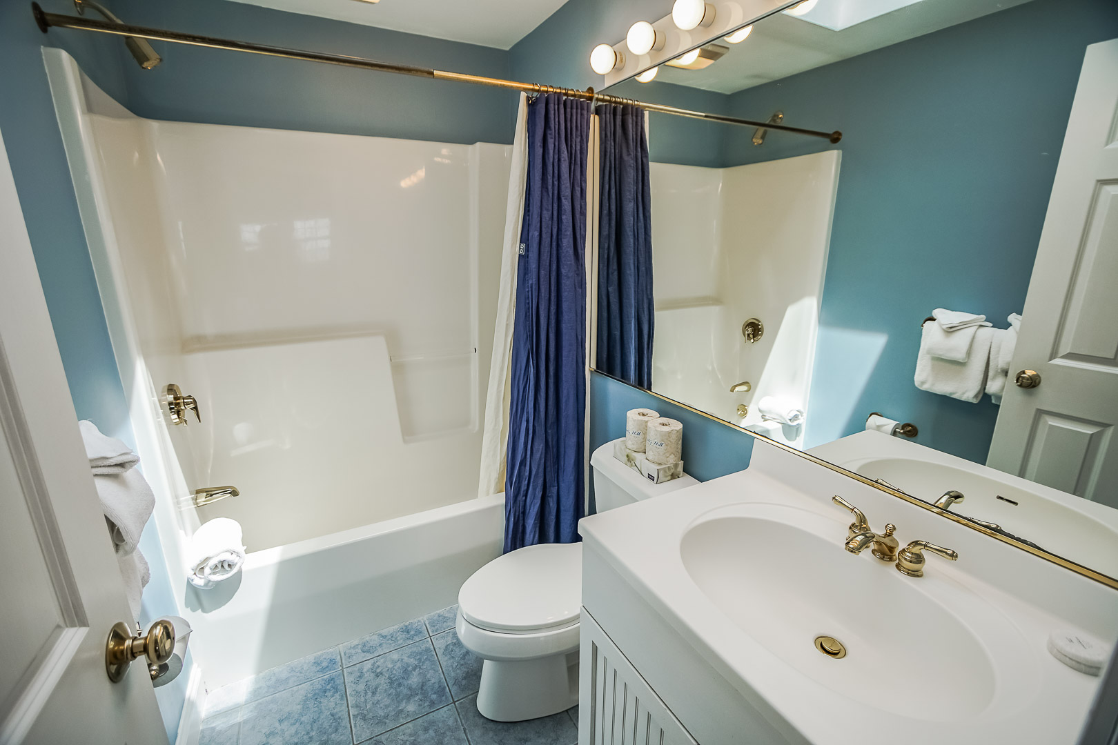 A clean bathroom at VRI's Beachside Village Resort in Massachusetts.