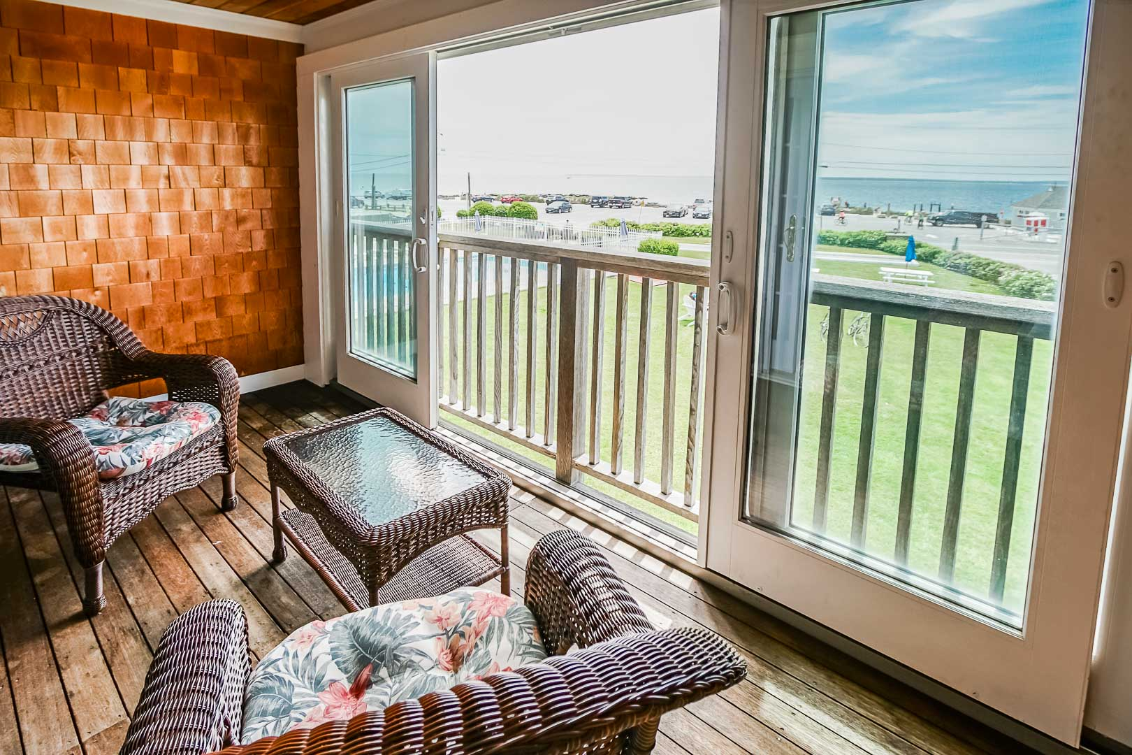 A scenic balcony view from VRI's Beachside Village Resort in Massachusetts.