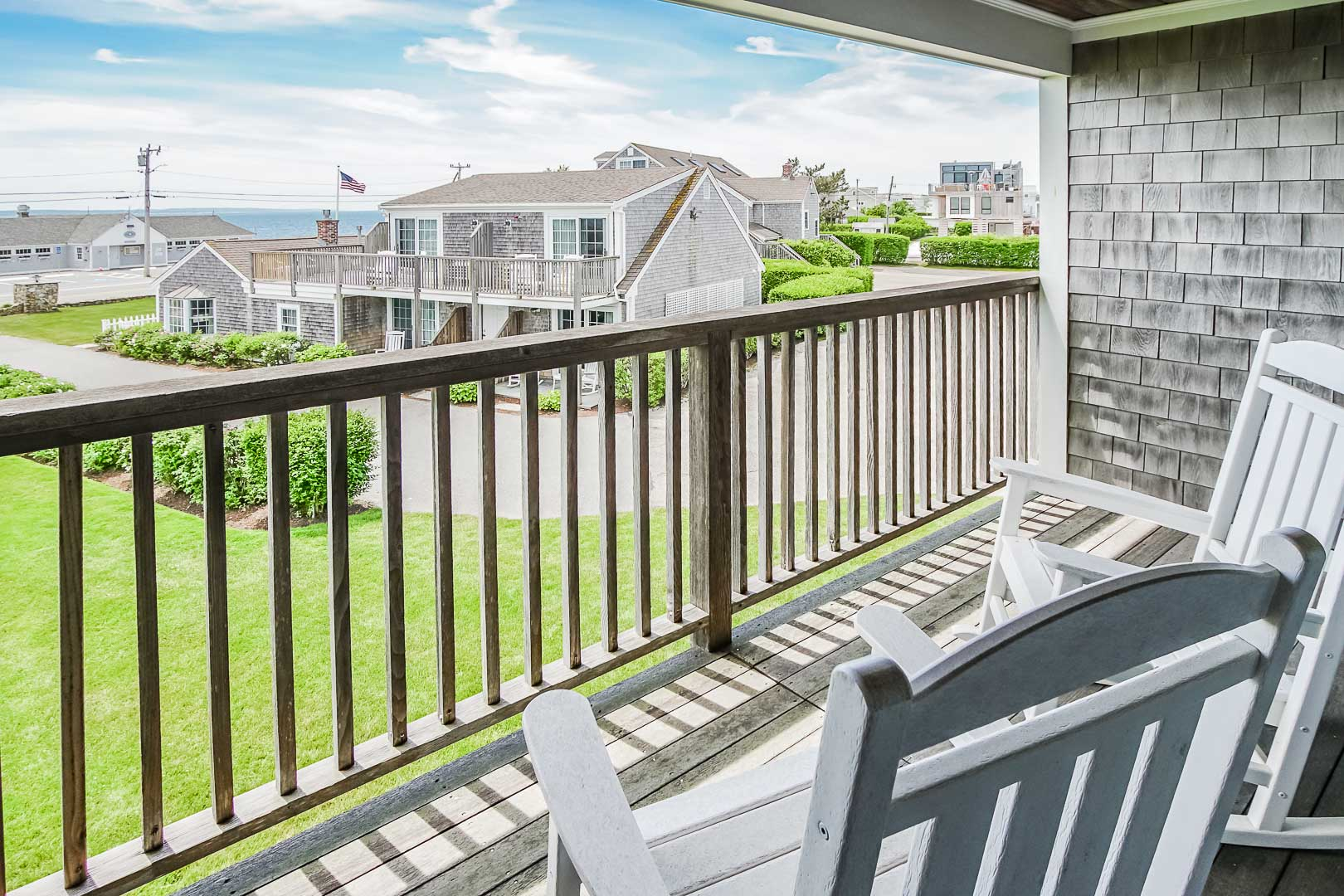 A pleasant view from the balcony at VRI's Beachside Village Resort in Massachusetts.