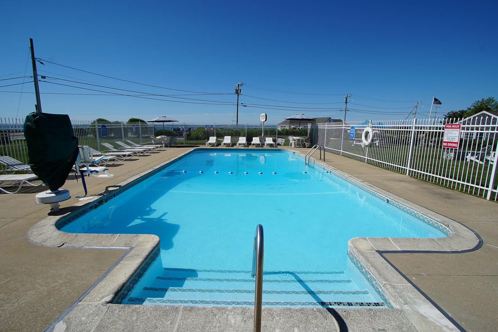 A crisp pool at VRI's Beachside Village Resort in Massachusetts.