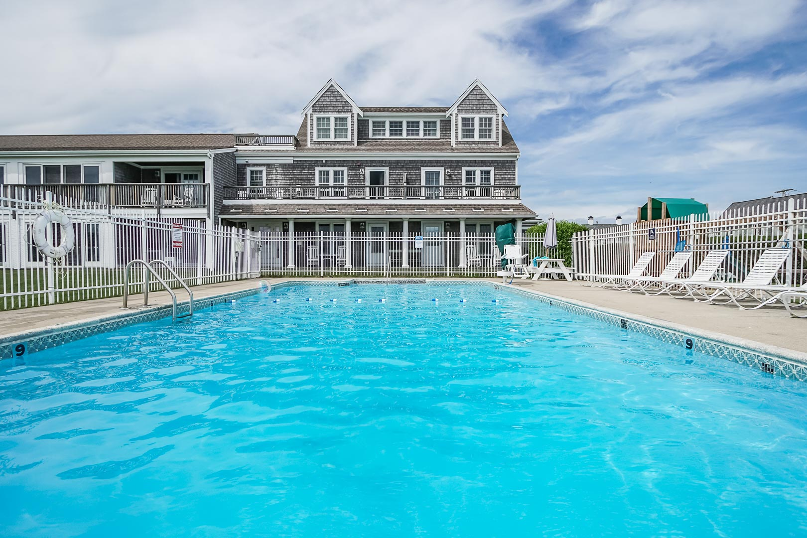 A crisp pool at VRI's Beachside Village Resort in Massachusetts.