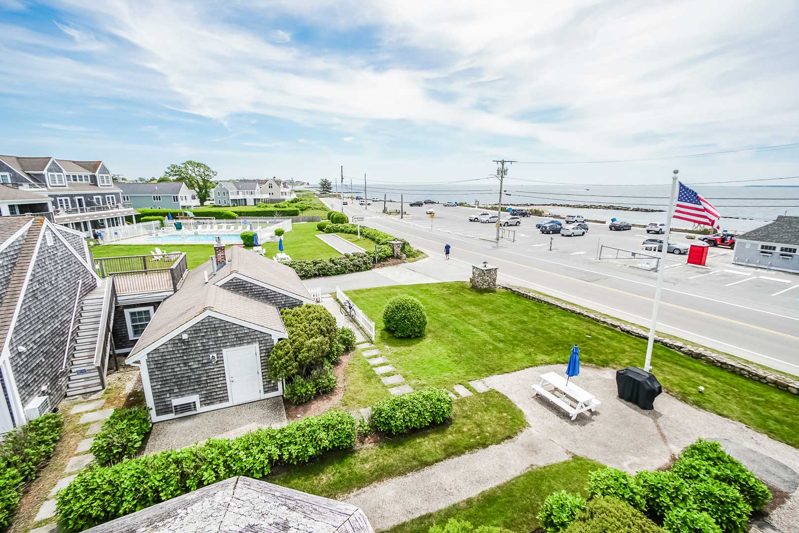 A colonial resort view at VRI's Beachside Village Resort in Massachusetts.