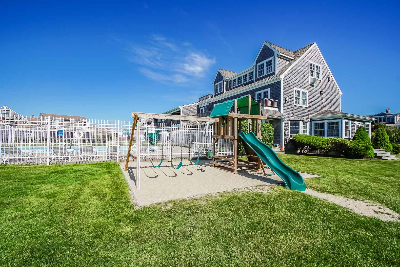 A lovely playground at VRI's Beachside Village Resort in Massachusetts.