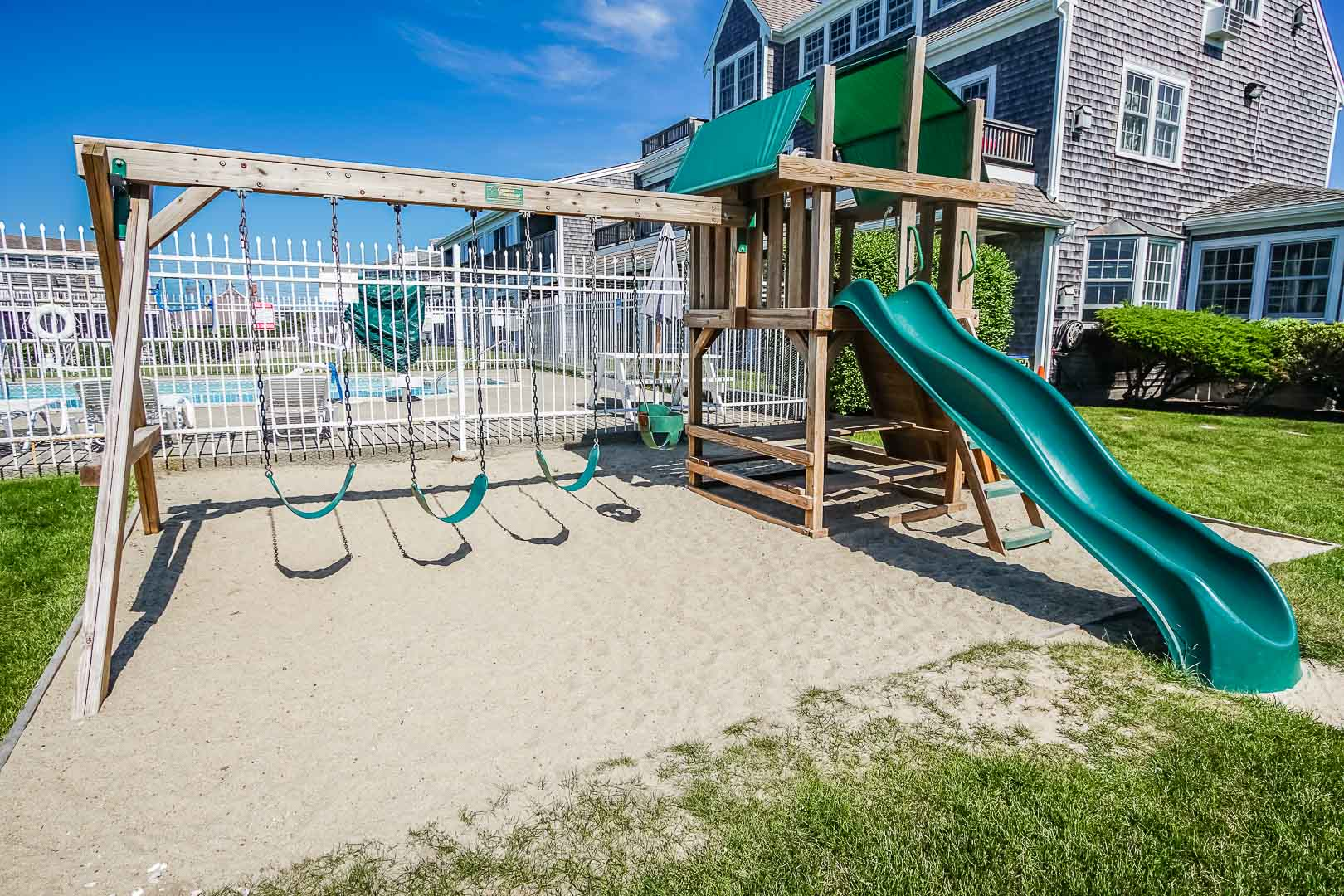 A lovely playground at VRI's Beachside Village Resort in Massachusetts.