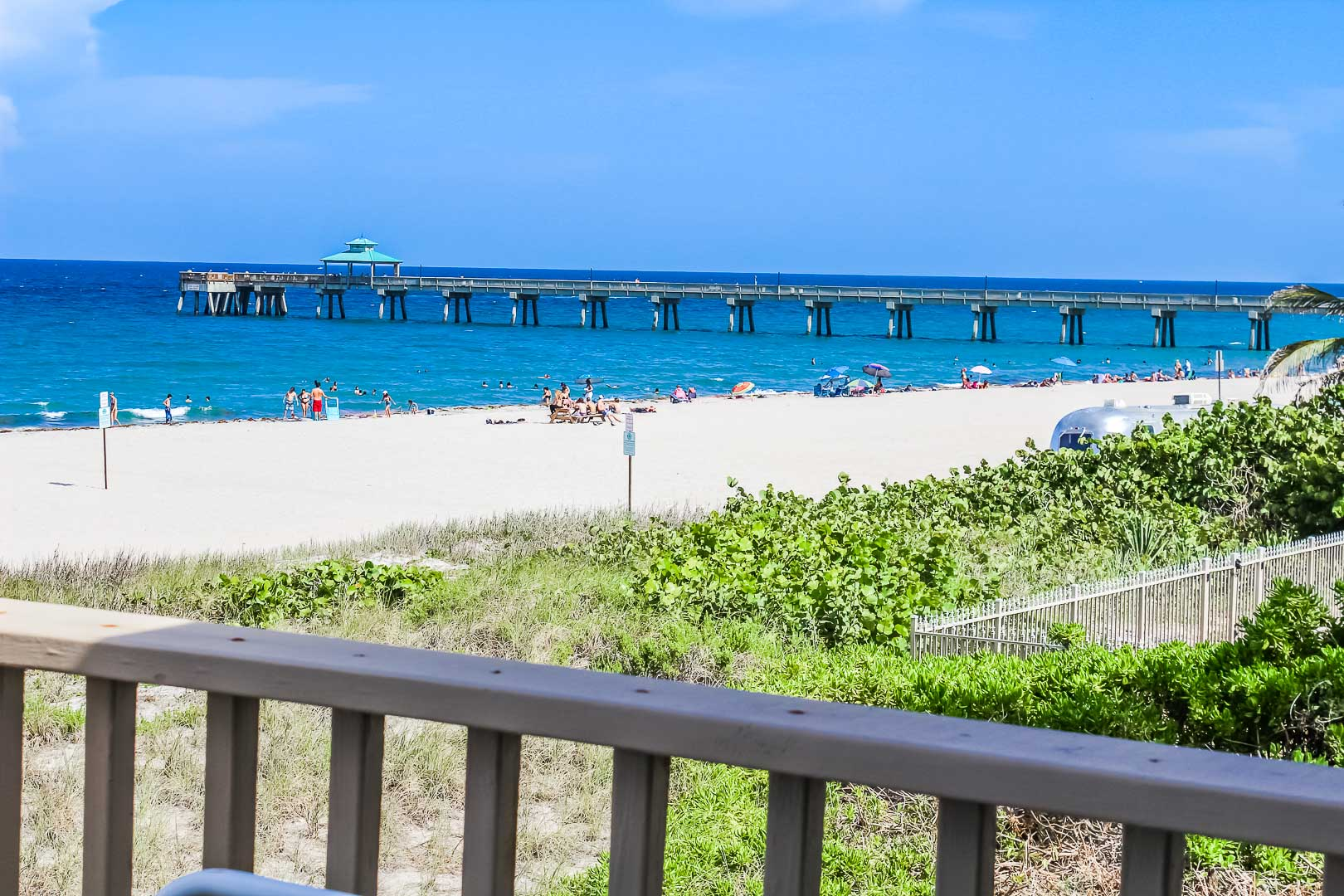 The calming balcony view with beach access at VRI's Berkshire Beach Club in Florida
