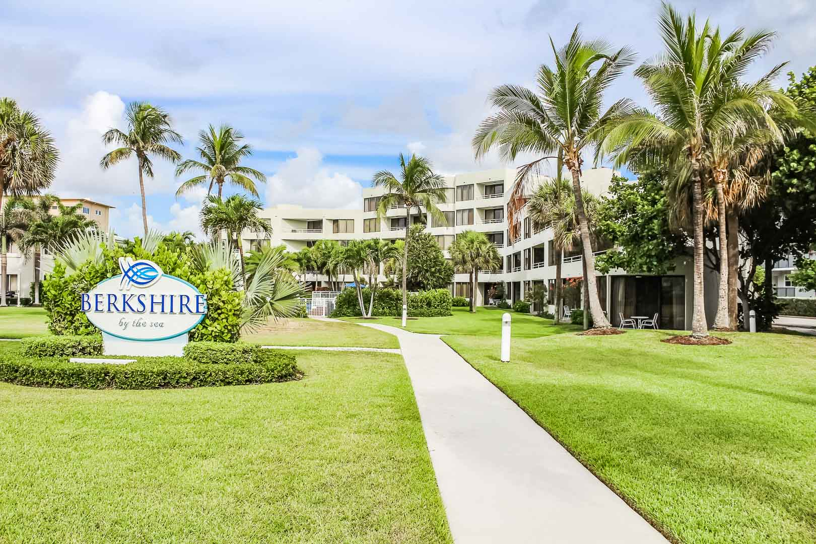 An inviting resort entrance at VRI's Berkshire by the Sea in Florida.