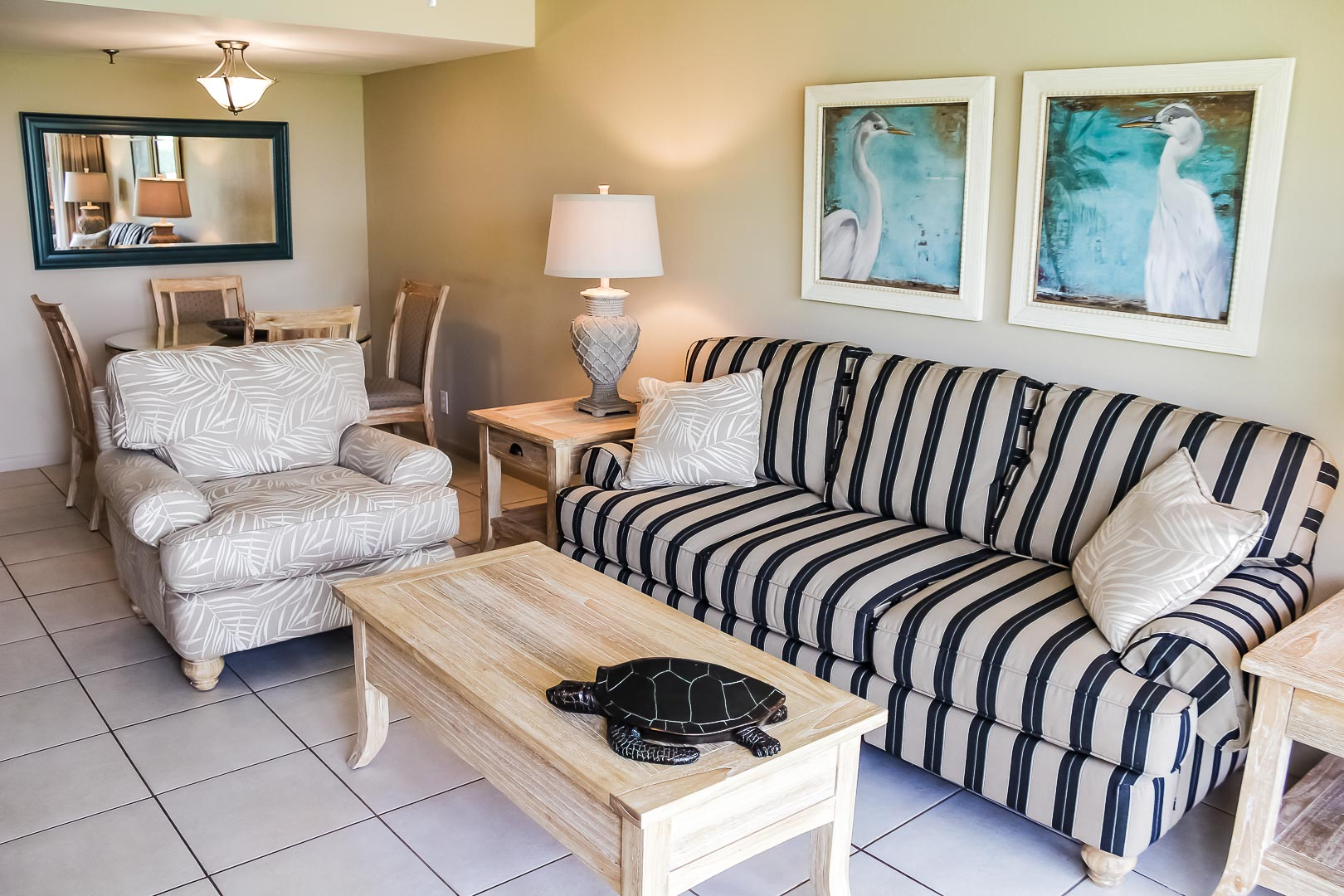 A charming living room at VRI's Berkshire by the Sea in Florida.