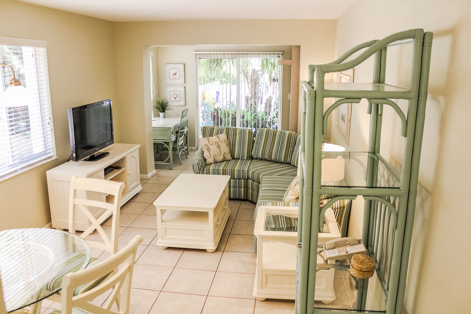 A refreshing living room at VRI's Berkshire by the Sea in Florida.