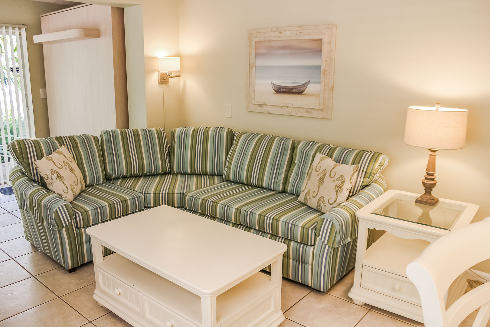 A lovely living room at VRI's Berkshire by the Sea in Florida.