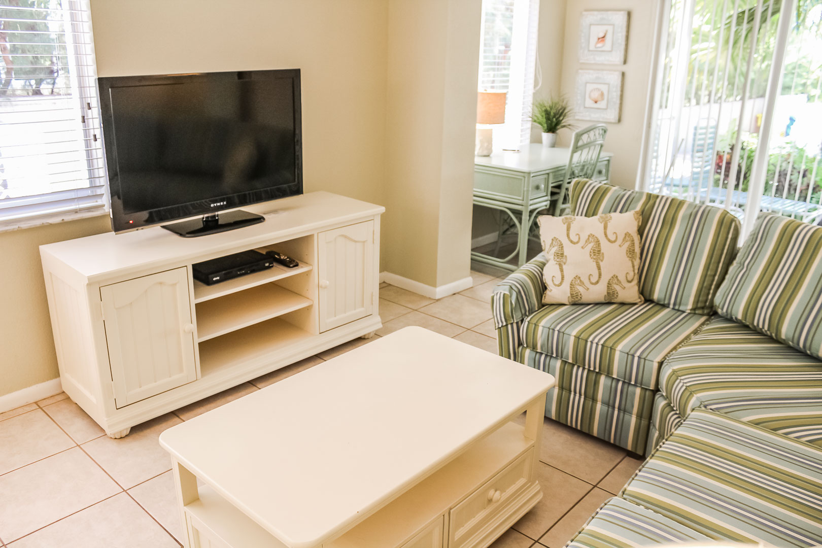 A pleasant living room at VRI's Berkshire by the Sea in Florida.