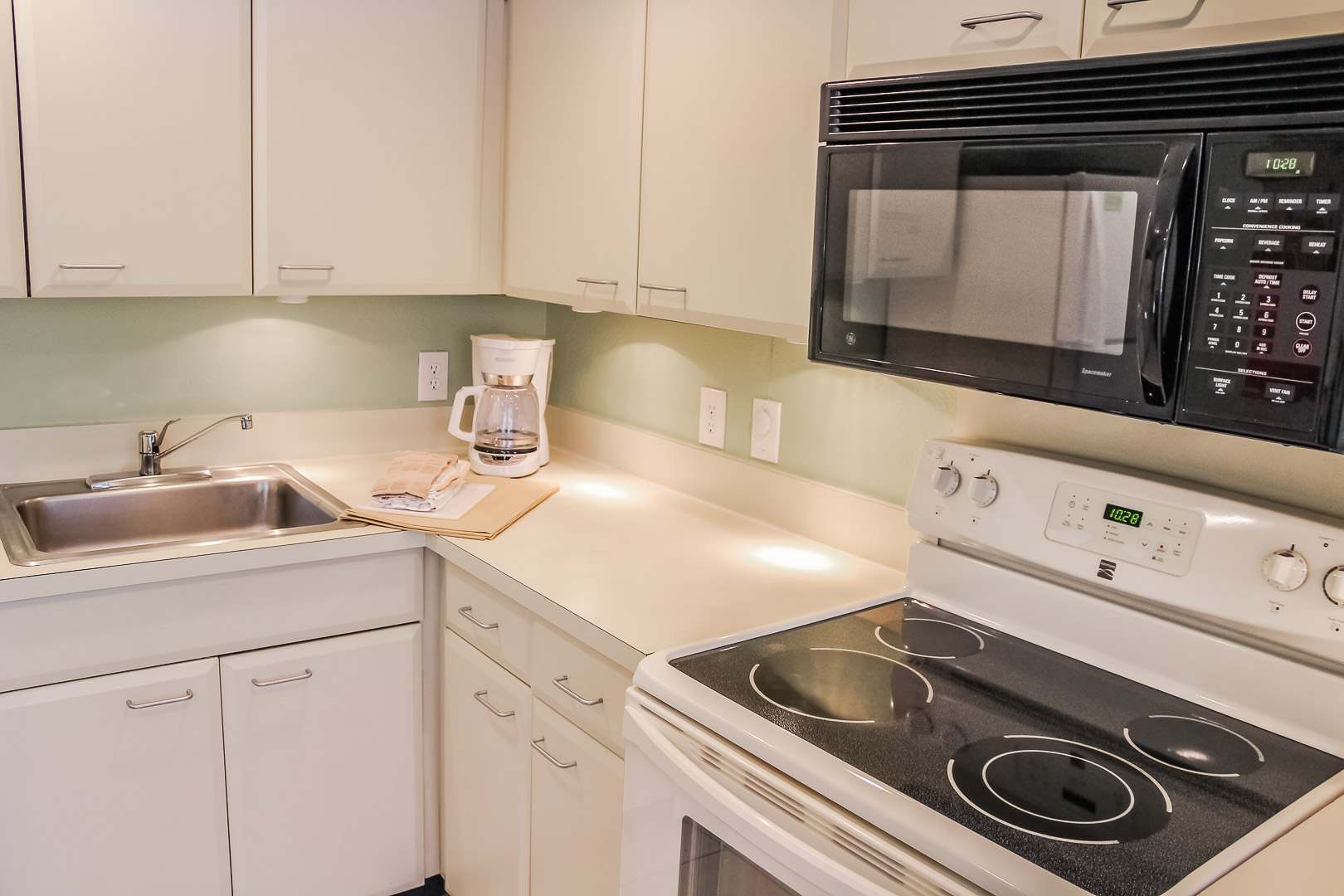 A standard kitchen at VRI's Berkshire by the Sea in Florida.