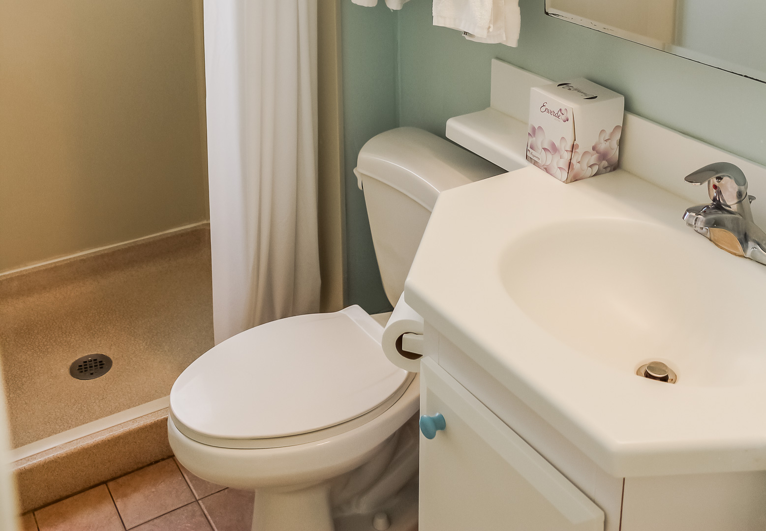 A clean bathroom at VRI's Berkshire by the Sea in Florida.