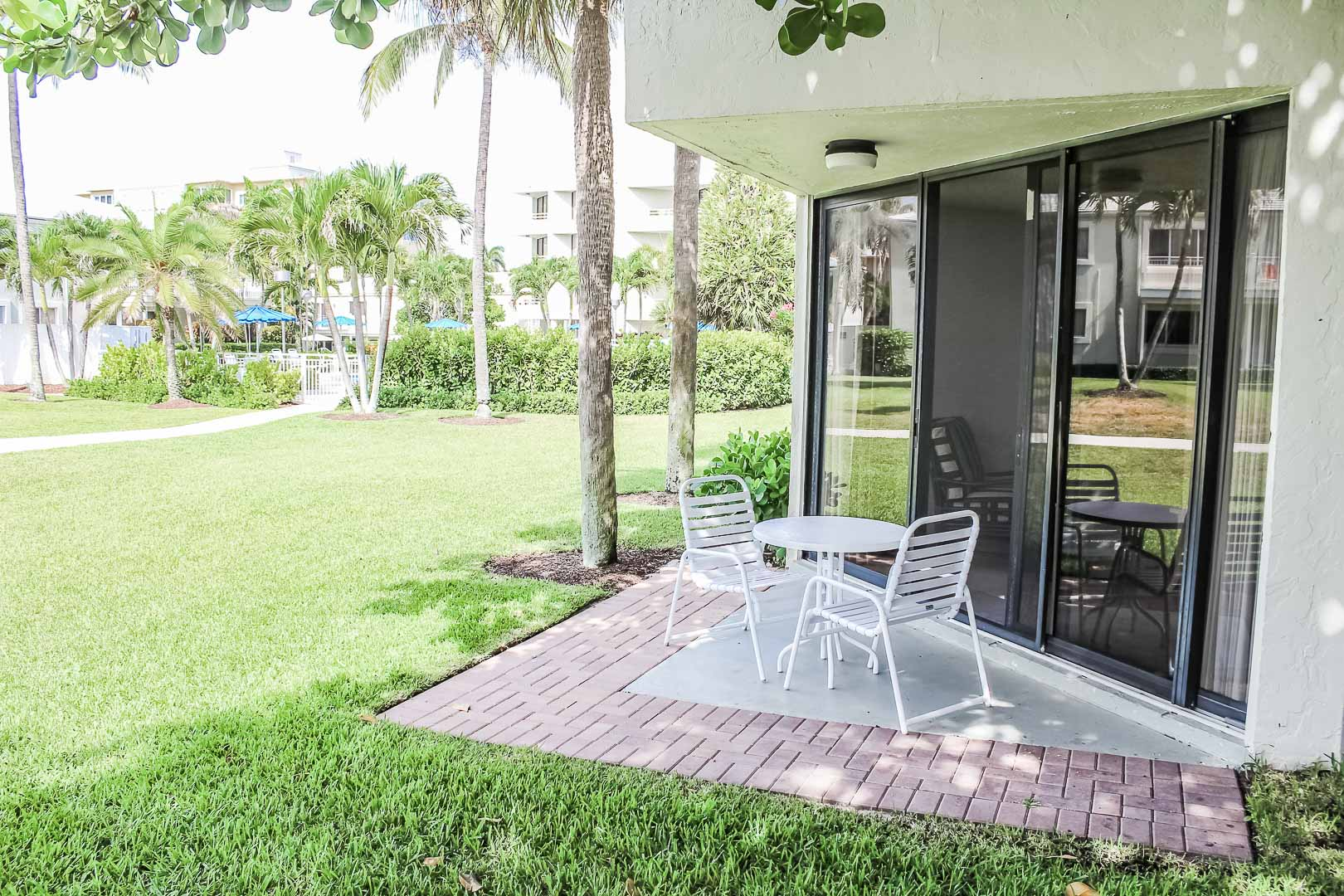 A relaxing patio space at VRI's Berkshire by the Sea in Florida.