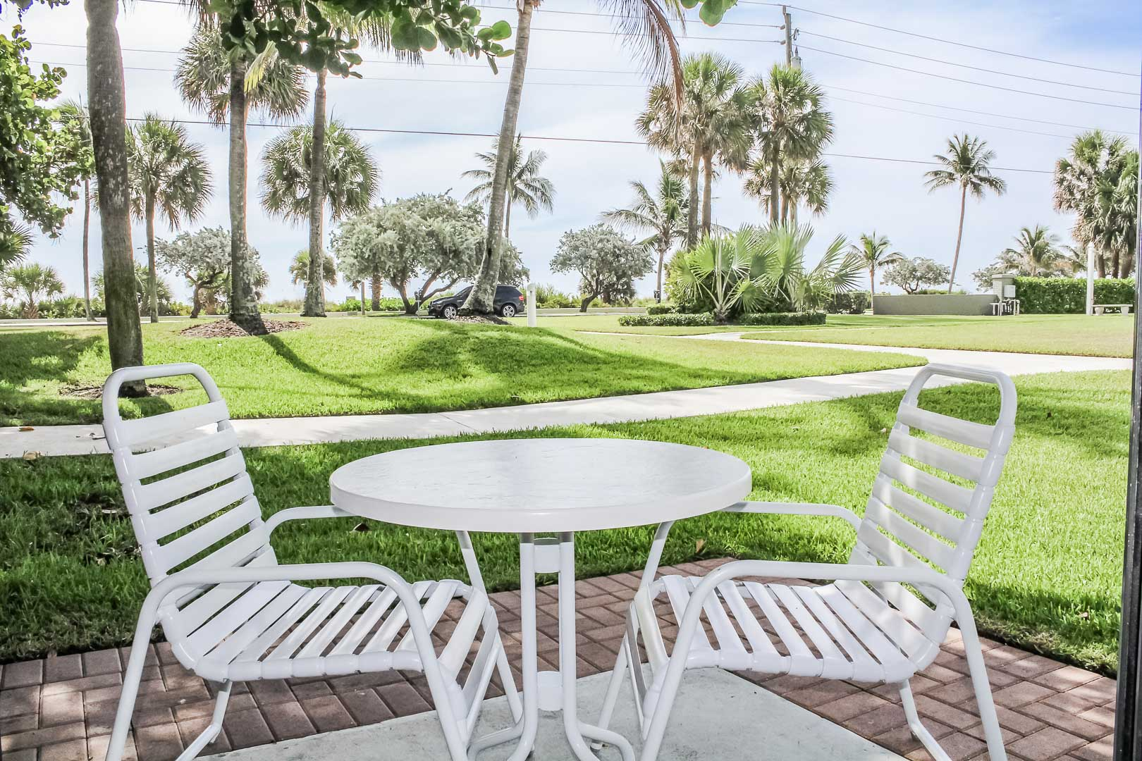 A relaxing patio area at VRI's Berkshire by the Sea in Florida.