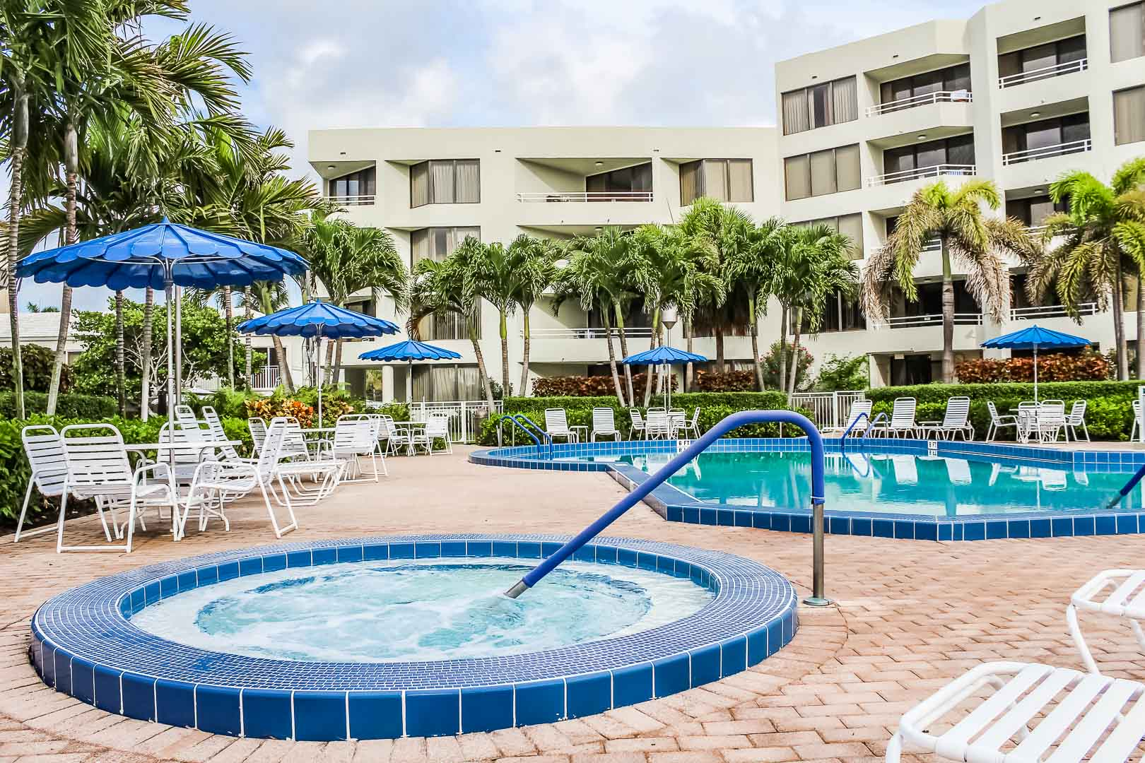 A relaxing Pool and Jacuzzi at VRI's Berkshire by the Sea in Florida.
