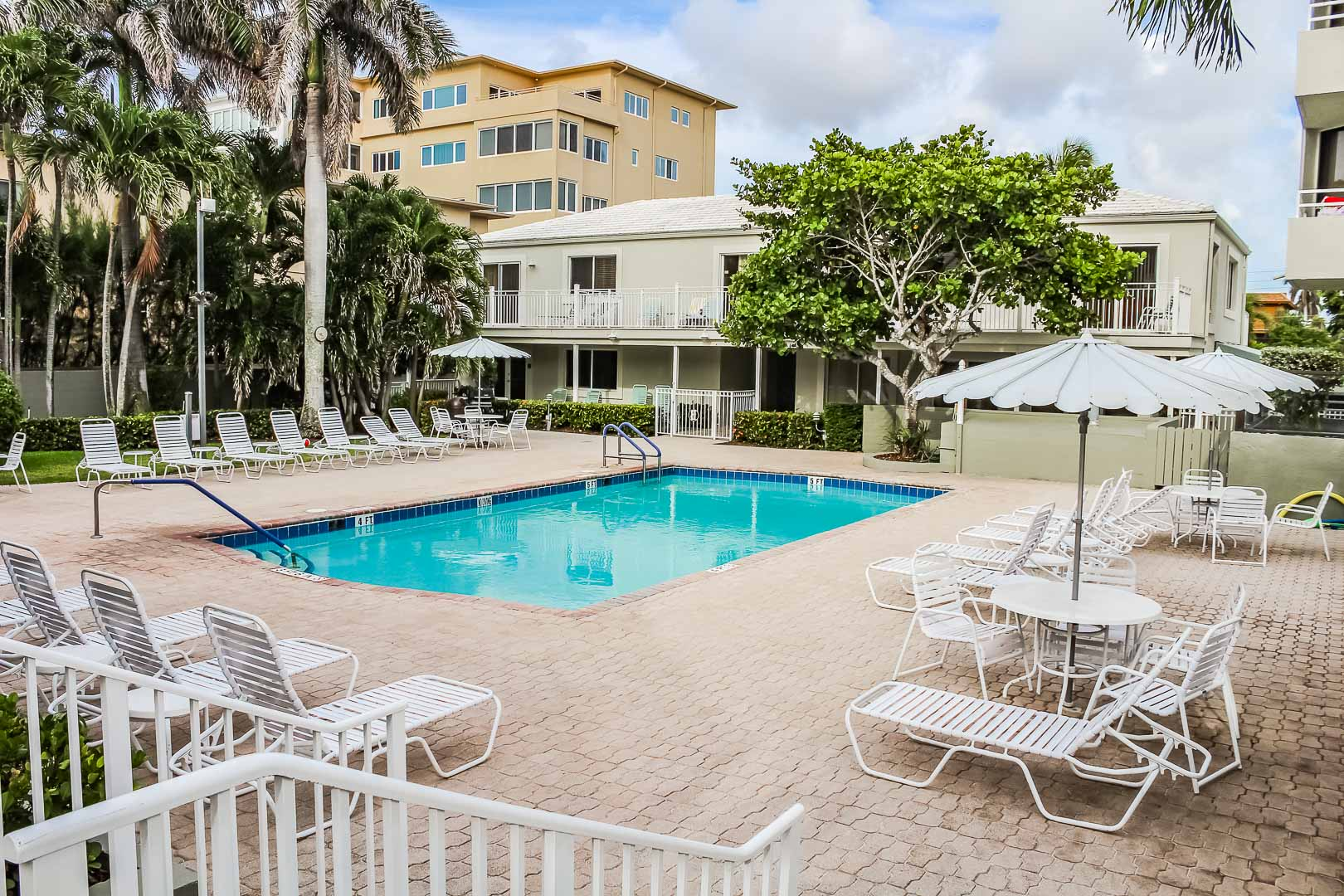 A quaint pool area at VRI's Berkshire by the Sea in Florida.