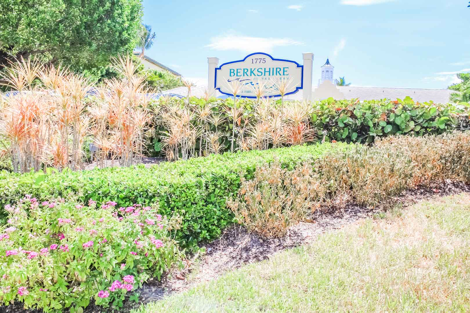 The inviting resort entrance at VRI's Berkshire on the Ocean in Florida.