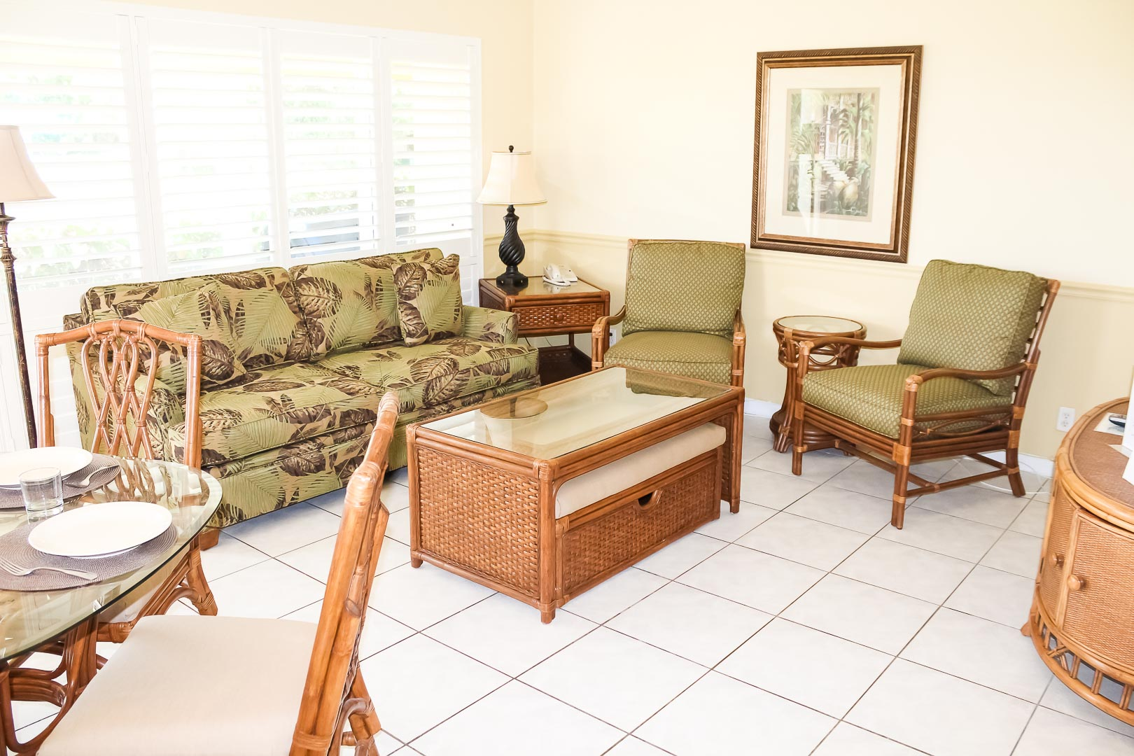 A floral living room area at VRI's Berkshire on the Ocean in Florida.