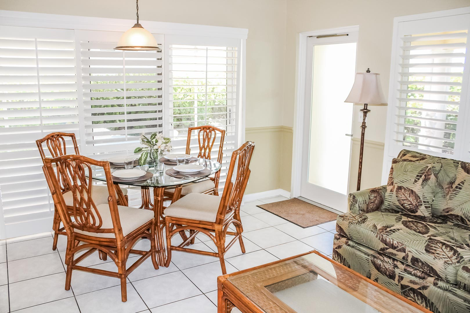 An airy dining room at VRI's Berkshire on the Ocean in Florida.